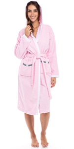 Women's Luxury Robes 100% Terry Cotton Hooded Bathrobe Spa Robe Bath Robes