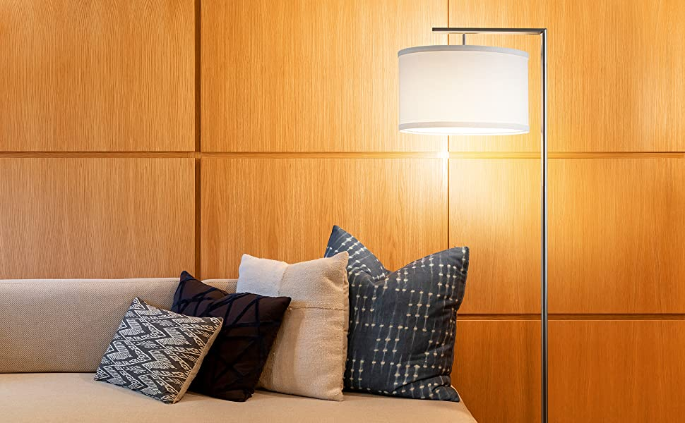 Brightech Montage Modern LED Floor Lamp - Living Room Standing Pole Light with Hanging Drum Shade