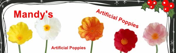 Mandy's artificial Poppies red yellow white pink blue orange