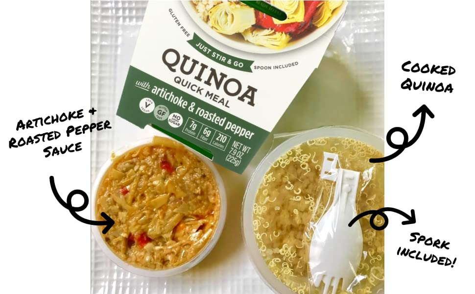 quinoa quick meal quinoa artichoke roasted pepper spork spoon included