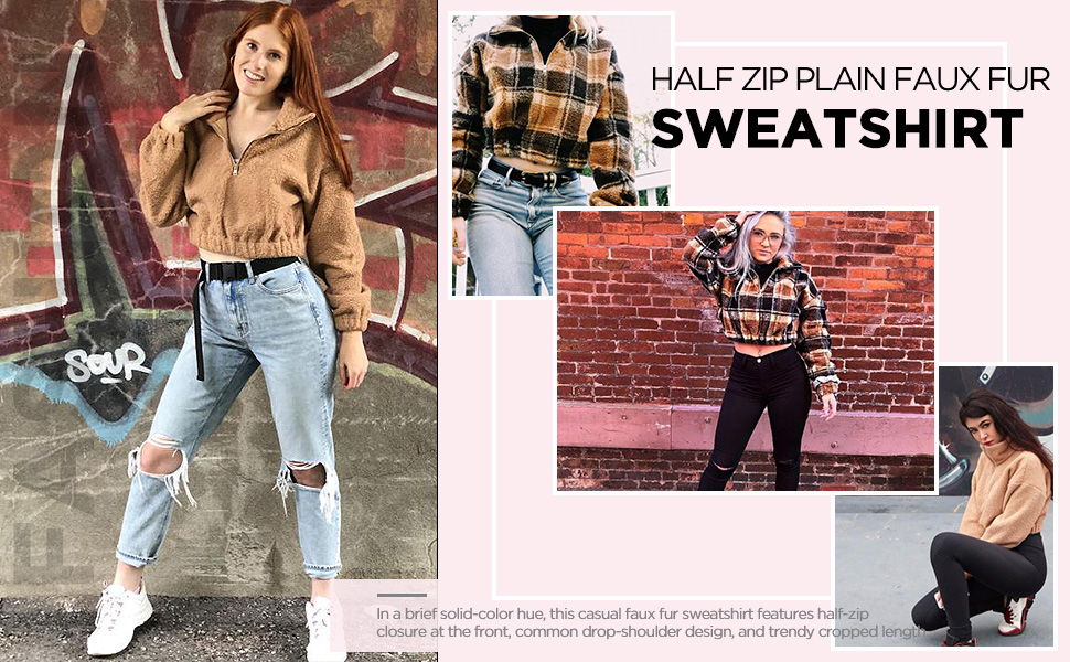 ZAFUL Half Zip Faux Fur Sweatshirt