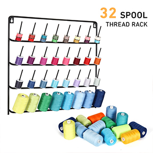 Suitable for Large Thread Wall-Mounted Metal Thread Holder with Hanging Tools for Organize Sewing Thread Embroidery 32-Spool Sewing Thread Rack