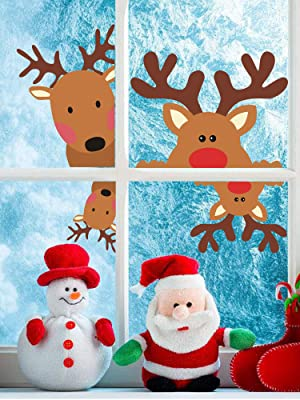 Christmas Stickers x 16 Vinyl Decal Santa Father reindeer snowman  wine glass