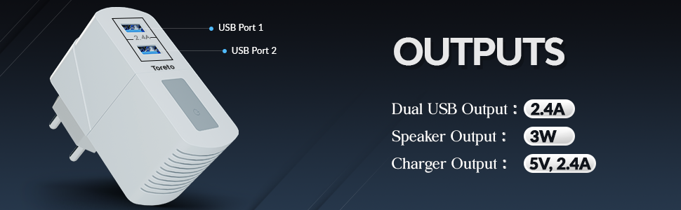 speakers, bluetooth speakers wireless, 2.4 amp charger, dual usb charger, 3w speakers, wall charger