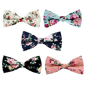 Black Bow Tie Bowtie with Flowers Lily Print Mens Gift Wedding Bow Tie Mens Self Tie BowTie Flower Print Bow Tie Cotton Mens Bowties