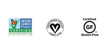Non-GMO, Certified Vegan, Certified Gluten-Free
