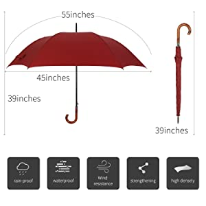 wooden J-handle umbrellas