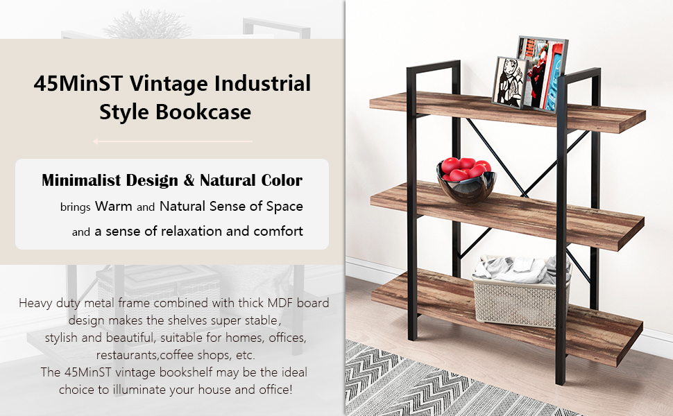 45MinST 5-Tier Vintage Industrial Style Bookcase/Metal and Wood Bookshelf Furniture for Collection
