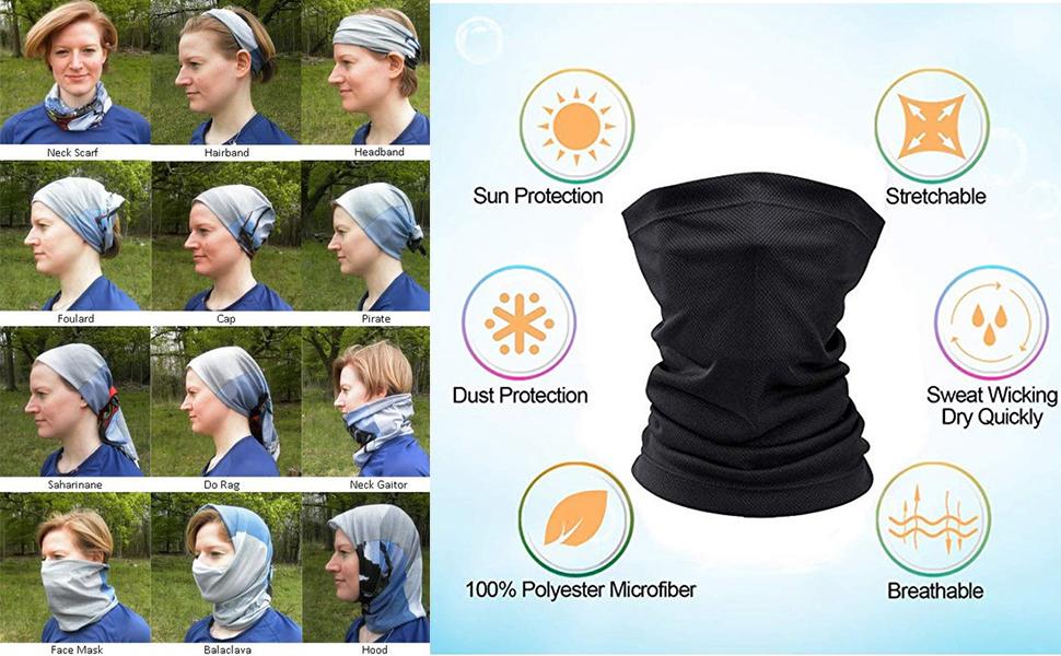 Neck Gaiter Bandana Headwear Face Mask Scarf Neck Tube Magic Headband Sports Fan Masks Breathable
