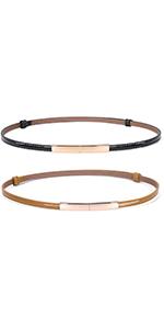 2 Pack Women's Skinny Leather Belt