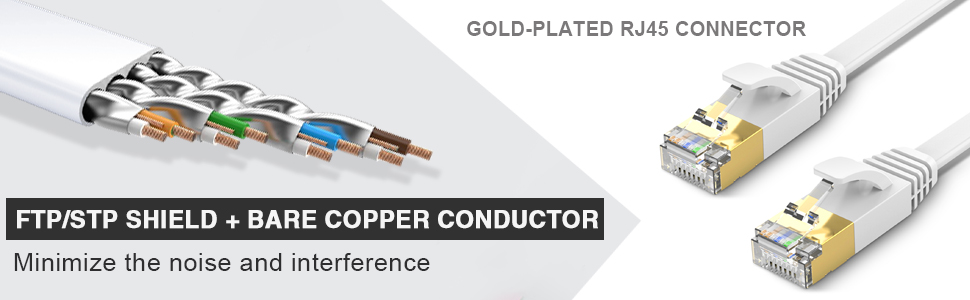 Ethernet Cable with RJ45 Gold Plated Connector