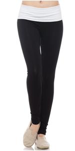Fold Over Yoga Pants for Women, Soft Cotton Full Length Leggings