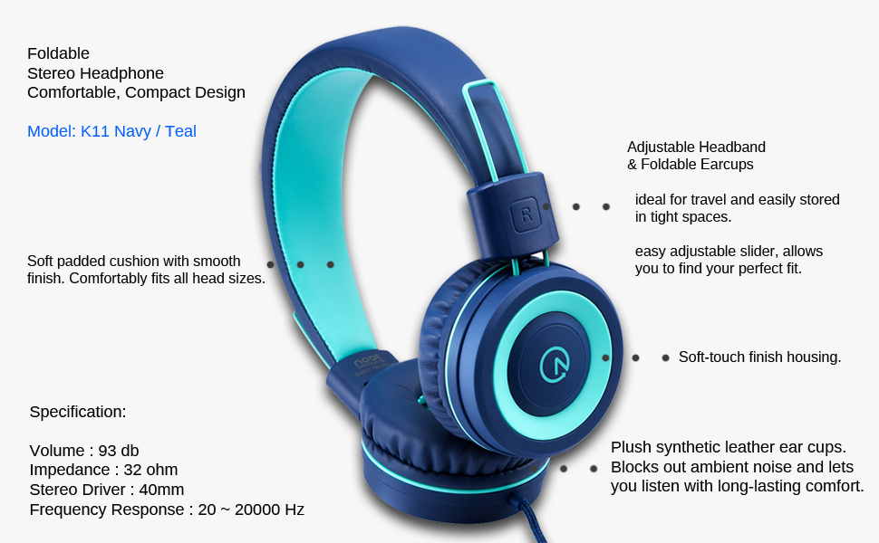 Kids Headphones K11 Navy Teal