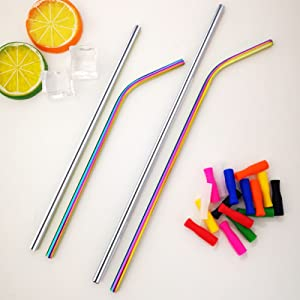 Metal straws(rainbow and silver color)