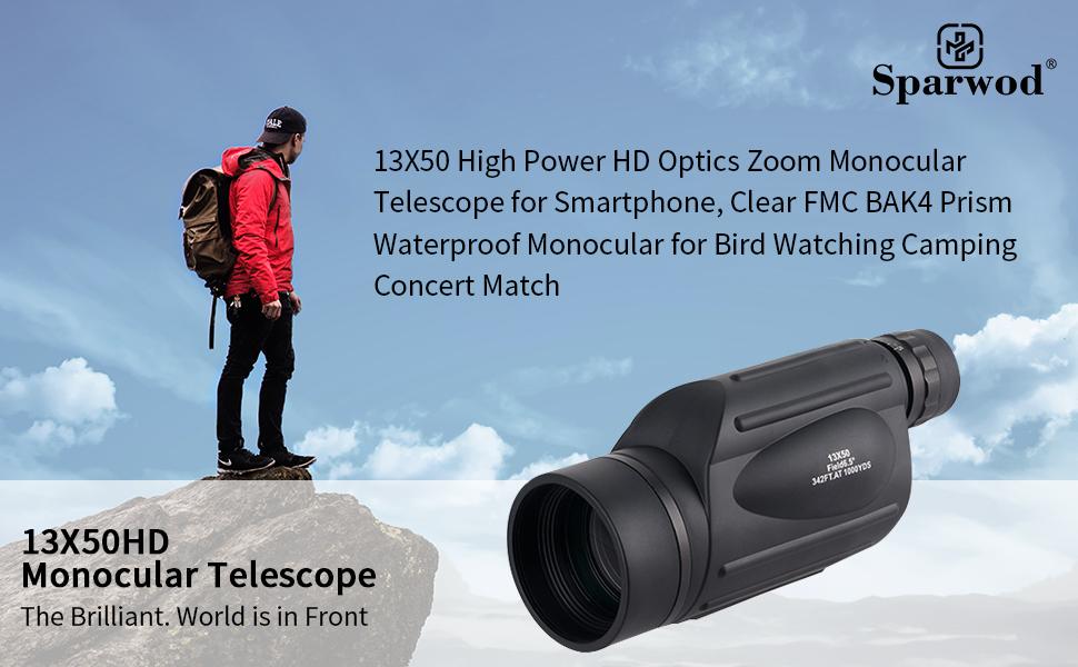 13X50 High Power HD Monocular Telescope for Smartphone, Clear FMC BAK4 Prism Waterproof Monocular