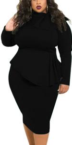 Black Peplum Dresses Plus Size
