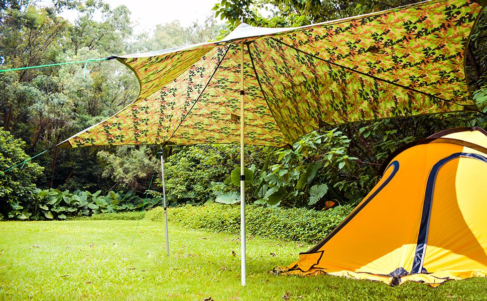 GEERTOP Telescopic Steel Tent Poles/Awning Poles Adjustable Tarp Poles Set