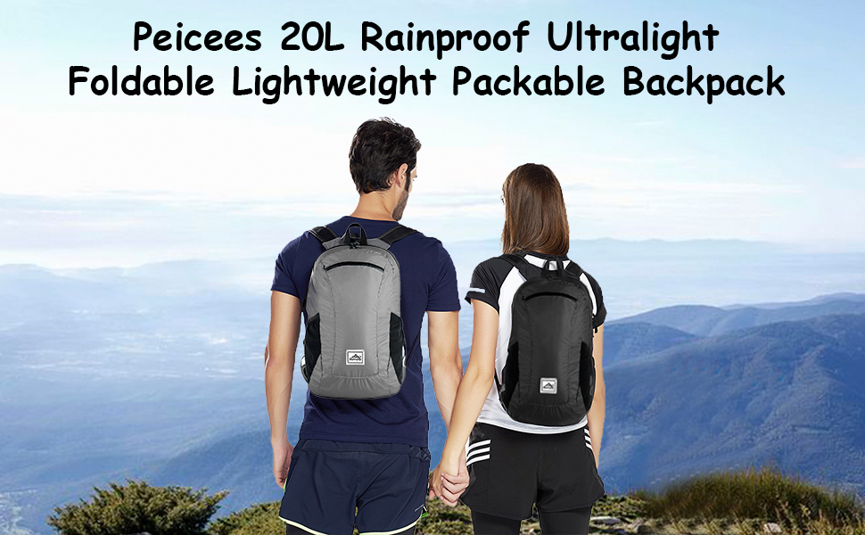 Peicees Hiking Daypack Foldable Lightweight Collapsible Backpack Waterproof Travel Bag Camping Outdoor for Men Women