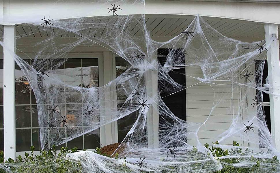 10shine 10 sqft Fake Spider Web Cobweb Halloween Party Outdoor  Decorations Supplies with 10 Spiders