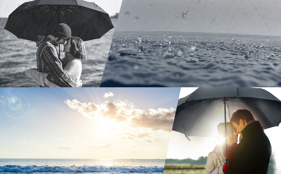 RLDSESS Summer Travel Folding Umbrella Men 42 Inches 10 Ribs Rainproof Ladies Automatic Opening and Closing,Summer Sunrise Reine Village Lofoten Islands Norway,Windproof