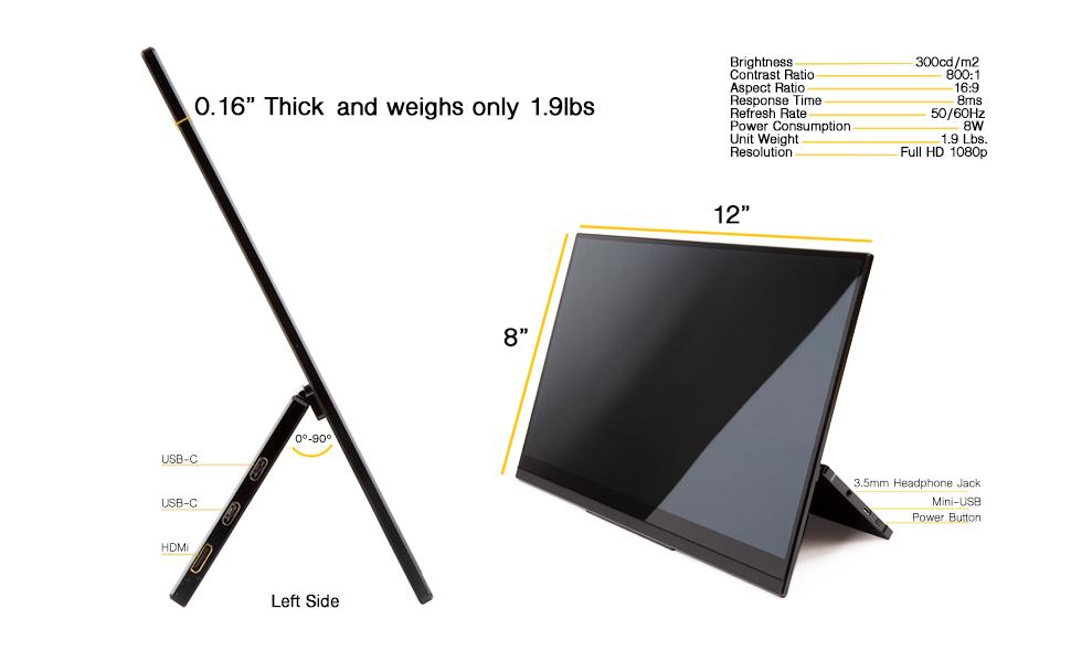 SideTrak portable monitor dimensions