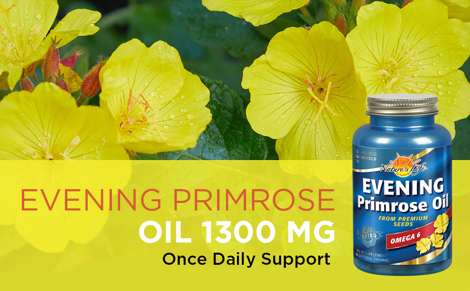 Nature's Life Evening Primrose Oil 1300 mg PMS and Menopause Balance Support for Women Skin Health