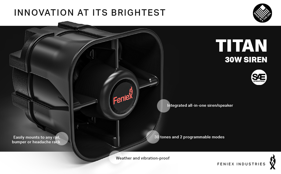 feniex, made in usa, off-road, compact and small, siren, speaker, emergency, tow, construction, led