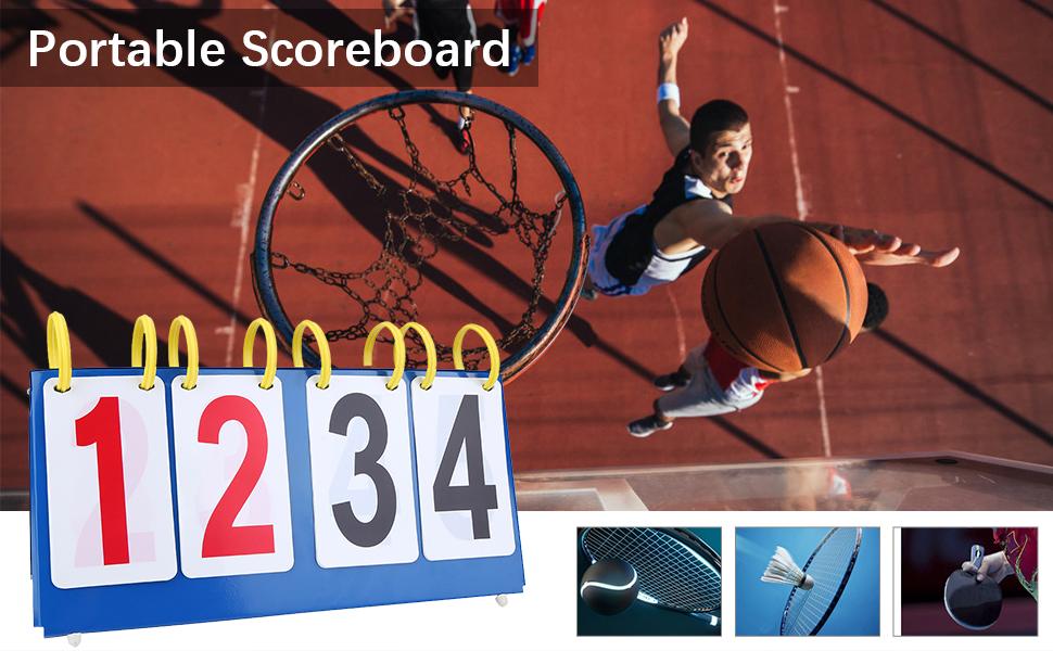 V GEBY 3//4 Digit Portable Tabletop Scorekeeper Score Keeper Score Flipper for Basketball Tennis Sports