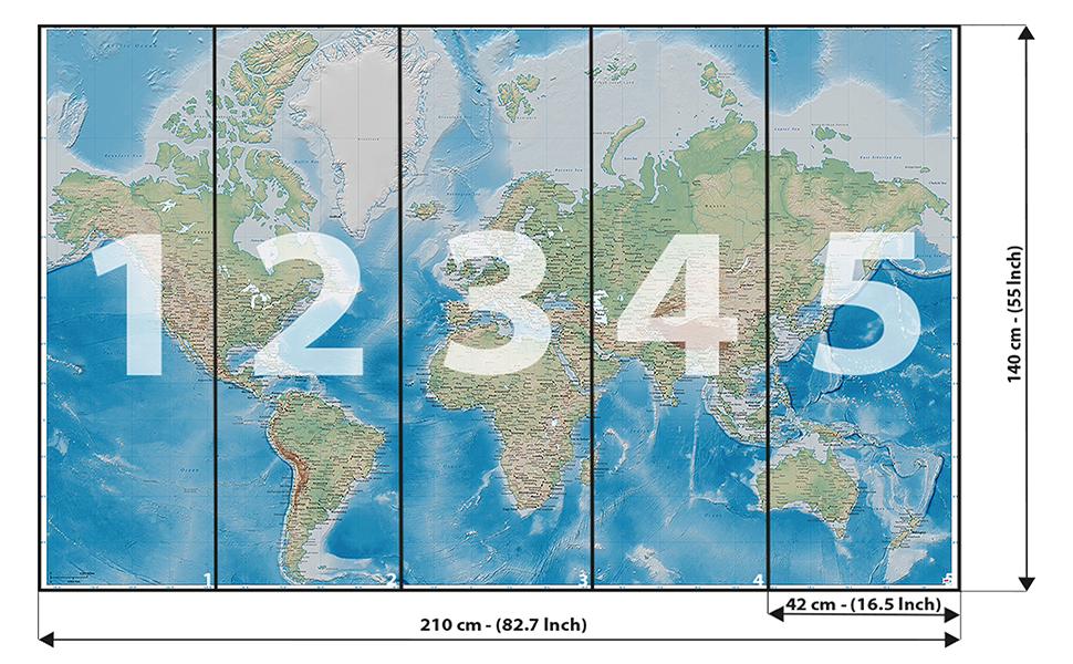 GREAT ART Mural de Pared – Mapa del Mundo – Proyección de Miller ...