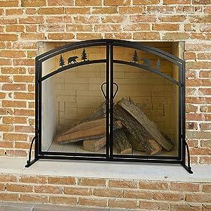 Fireplace Screen Doors Large Flat Guard Fire Screens Outdoor Metal Decorative Mesh Solid Wrought