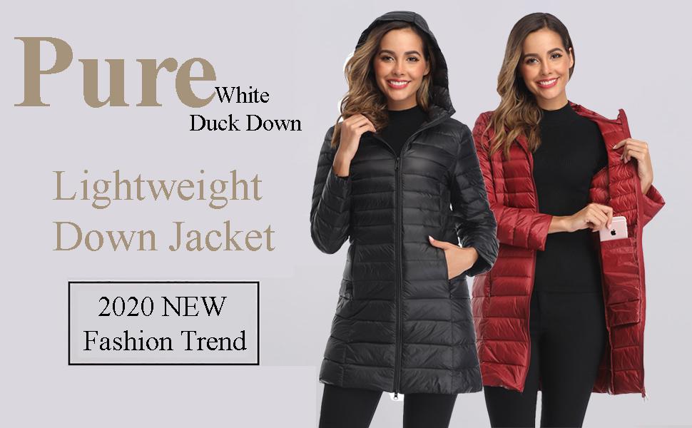 Women's Winter Down Coat Puffer Jacket Packable Lightweight Outdoor Sports Travel Parka Outerwear