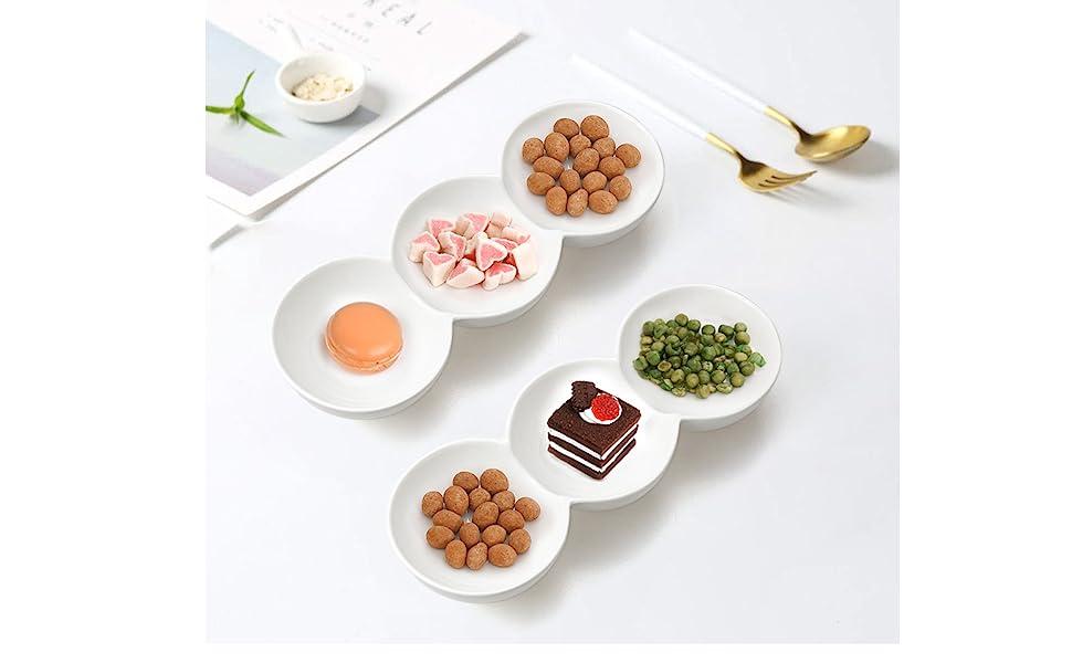 3-Compartment Porcelain Appetizer Serving Tray