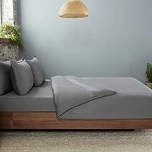 Sheet Set and duvet on bed