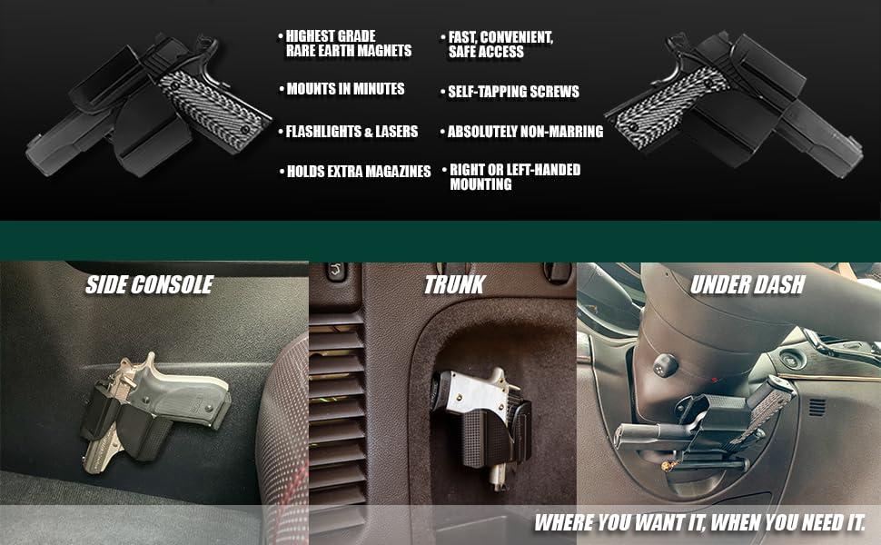 vehicle holster, gun magnet, magnetic device, cojo, cojo gun magnet, cojo mfg