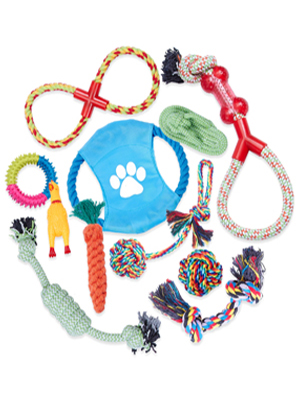 Dog Chew Toys, Rope Dog Toy, Puppy Toy Set, Pet Ball, Interactive Toy, Cotton Knot Gift Small/Medium