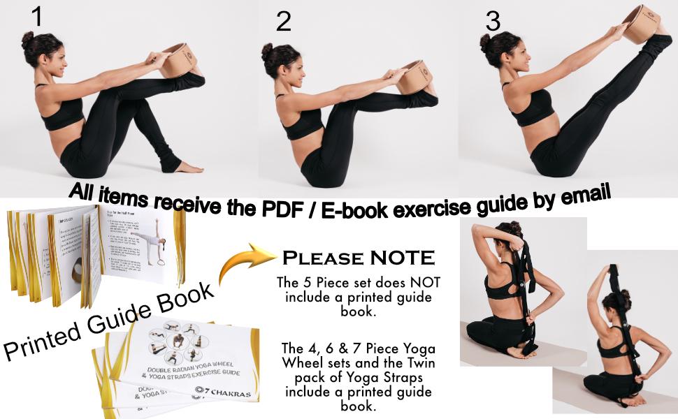 7 Chakras Yoga Stretching Strap Set + Optional Yoga Wheel
