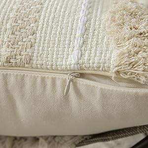 hidden zipper closure beige cream white canvas cotton blend nordic elegant concise for sofa couch