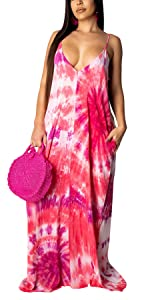 Women's Casual Floral Spaghetti Strap Maxi Dress