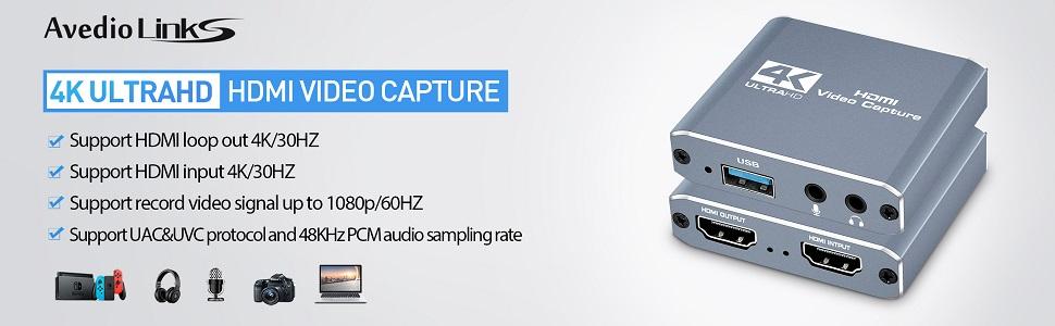 Cartes de Capture Audio Vid/éo HDMI vers USB 2.0 Full HD 1080p 60fps Cam/éra enregistreur cam/éscope pour la Diffusion en Direct HD pour Windows Android Mac