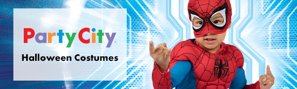 spider man costume closeup, party city banner, popular halloween costumes for kids, superheroes
