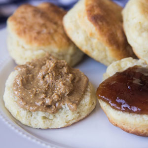 Chai Almond Butter on a Biscuit with jam