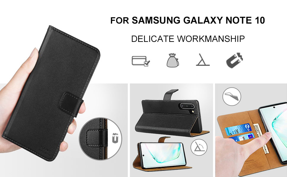HOOMIL Case Compatible with Samsung Galaxy Note 10, Premium PU-Leather Flip Wallet Phone Case for Samsung Galaxy Note 10 Cover (Black)