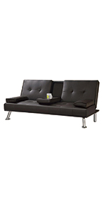Faux Leather 3 Seat Sofa Bed With Cup Holders