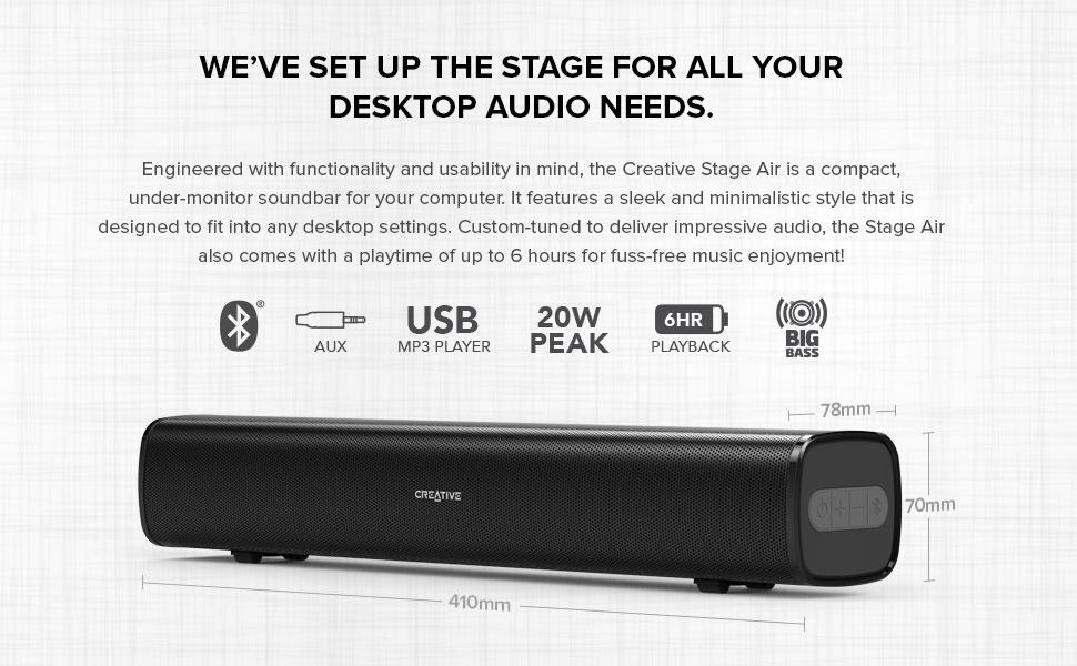 bluetooth aux-in usb 30w big bass destop audio needs
