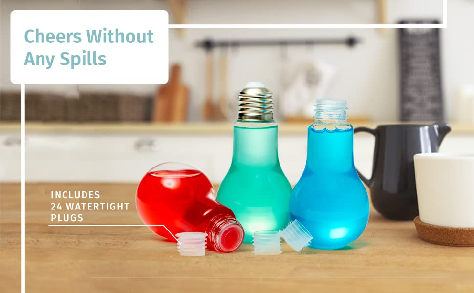 Cheers without Any Spills; includes 24 watertight plugs
