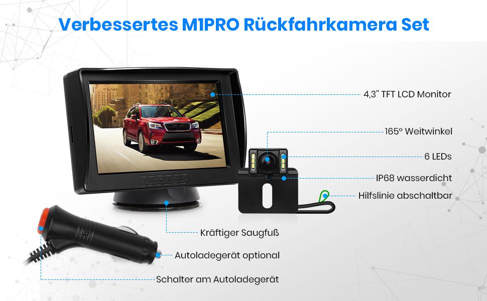 Auto Vox M1pro Rückfahrkamera Set Mit 4 3 Tft Lcd Elektronik