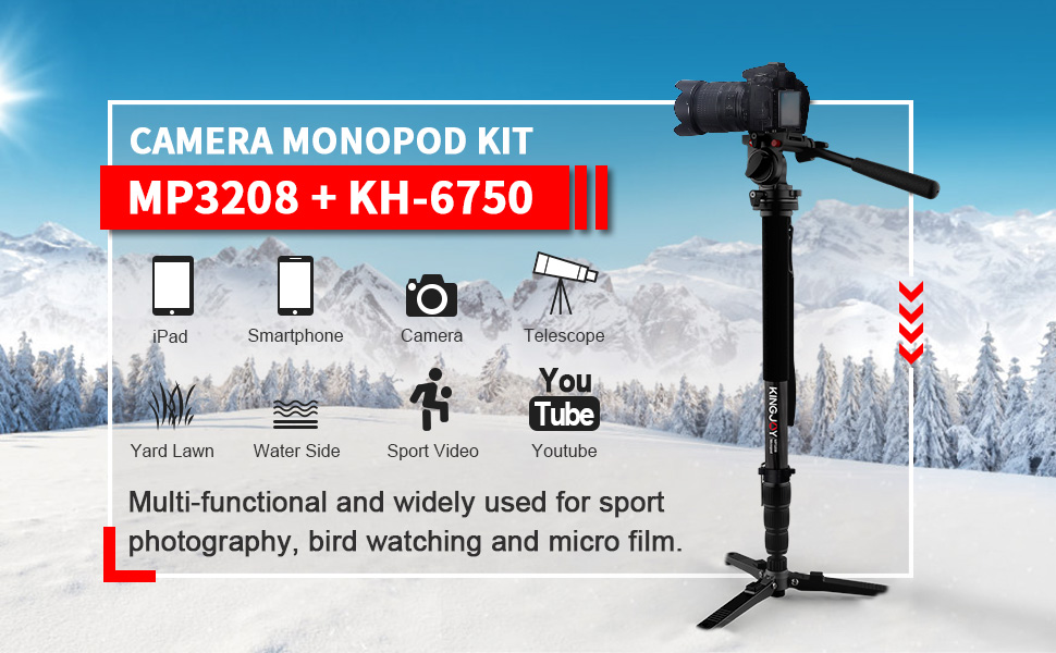 KINGJOY Camera Monopod Kit - MP3208 + KH-6750
