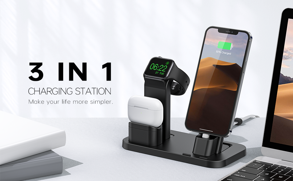 3 in 1 charging station in desktop