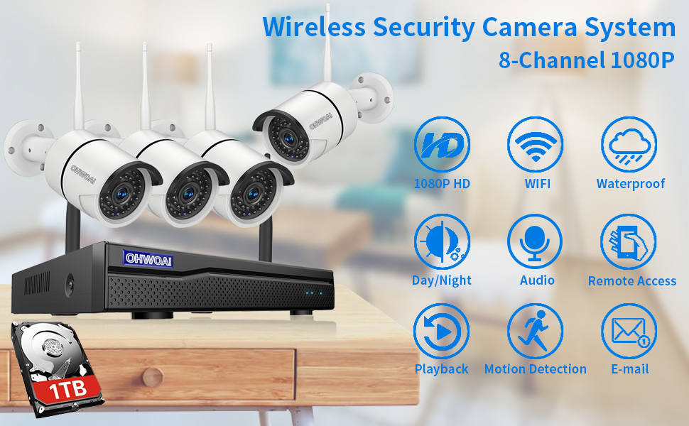 4 1080p+1tb  【8CH Expandable.Audio】 Security Camera System Wireless Outdoor, 8 Channel 1080P NVR with 1TB Hard Drive, 4Pcs 1080P CCTV Cameras for Home,OHWOAI Surveillance Video Security System,Outdoor IP Cameras 31acaf43 7e41 4b03 ac07 11168a2f566a