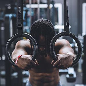 POWER GUIDANCE Anillos de Gimnasia Olímpico ABS Profesional con Hebillas Ajustables para Entrenamiento (28mm DIA)